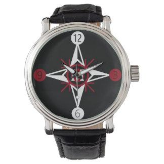 Trendy Red & White North Star Monogram on Black Watch