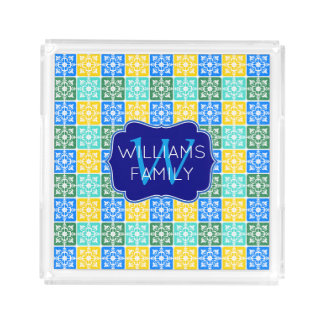 Trendy Resort Fashion Mediterranean Tiles Monogram Acrylic Tray