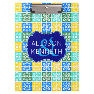 Trendy Resort Fashion Mediterranean Tiles Monogram Clipboard