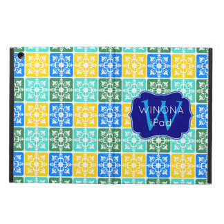 Trendy Resort Fashion Mediterranean Tiles Monogram Cover For iPad Air