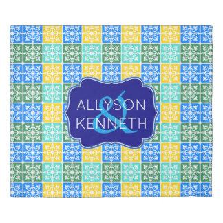 Trendy Resort Fashion Mediterranean Tiles Monogram Duvet Cover