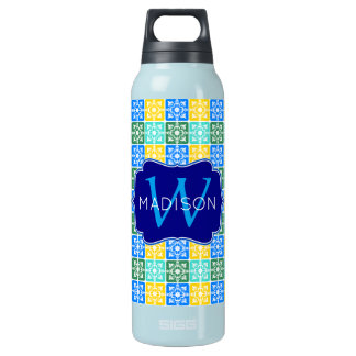 Trendy Resort Fashion Mediterranean Tiles Monogram Insulated Water Bottle