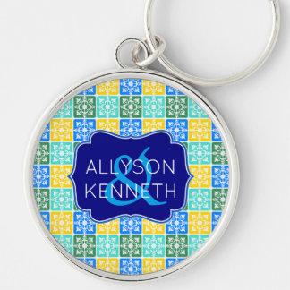 Trendy Resort Fashion Mediterranean Tiles Monogram Keychain