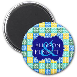 Trendy Resort Fashion Mediterranean Tiles Monogram Magnet