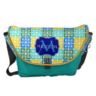 Trendy Resort Fashion Mediterranean Tiles Monogram Messenger Bag