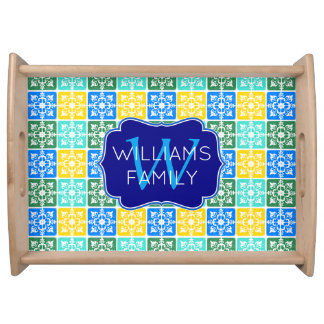 Trendy Resort Fashion Mediterranean Tiles Monogram Serving Tray