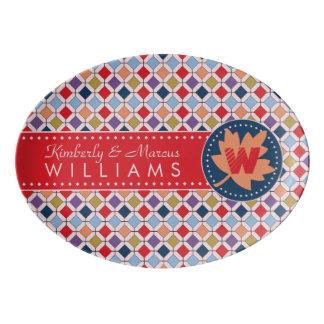Trendy Retro Autumn Fall Fashion Pattern Monogram Porcelain Serving Platter