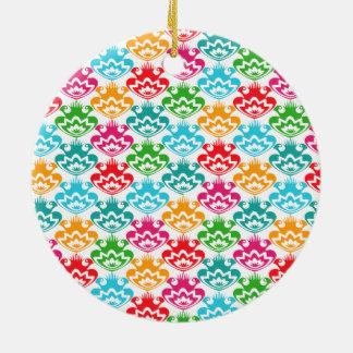 Trendy retro colorful folk flowers round ceramic ornament