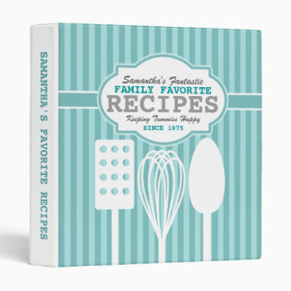 Trendy Retro Recipes Personalized 3 Ring Binders