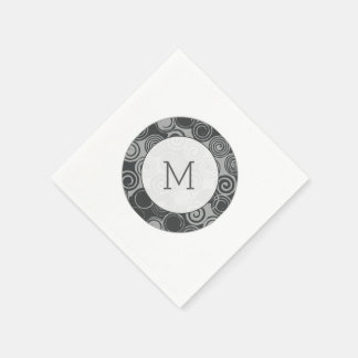 Trendy Retro Swirls Silver Gray Monogram Paper Napkins