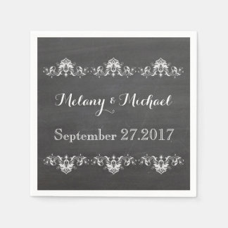 Trendy romantic damask lace chalkboard wedding napkin