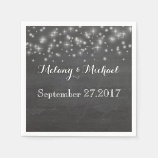 Trendy romantic sparkles chalkboard wedding napkin
