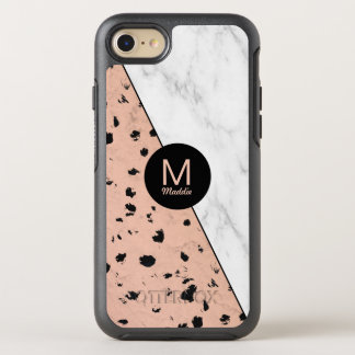 Trendy Rose Gold and Marble Pattern with Monogram OtterBox Symmetry iPhone 8/7 Case