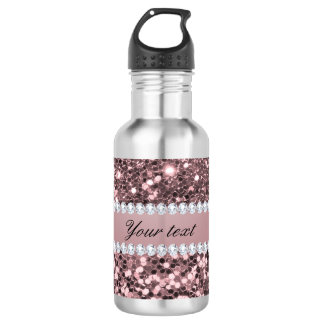 Trendy Rose Gold Faux Glitter and Diamonds 532 Ml Water Bottle
