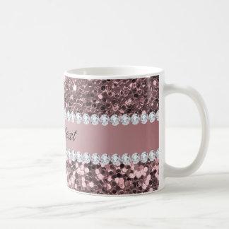 Trendy Rose Gold Faux Glitter and Diamonds Coffee Mug