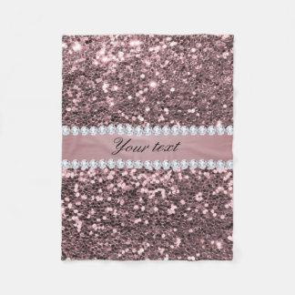 Trendy Rose Gold Faux Glitter and Diamonds Fleece Blanket