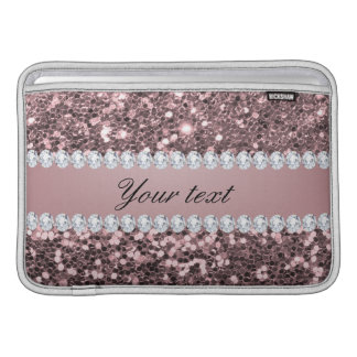 Trendy Rose Gold Faux Glitter and Diamonds MacBook Air Sleeve