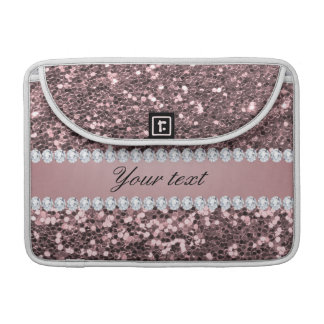 Trendy Rose Gold Faux Glitter and Diamonds Sleeves For MacBooks