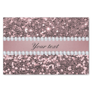 Trendy Rose Gold Faux Glitter and Diamonds Tissue Paper