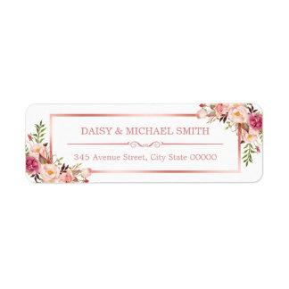 Trendy Rose Gold Frame Vintage Pink Flowers Return Address Label