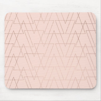 Trendy rose gold geometric triangles blush pink mouse pad