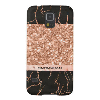 Trendy Rose-Gold Glitter & Black Marble Pattern Galaxy S5 Cases