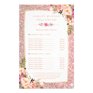 Trendy Rose Gold Glitter Floral Beauty Salon Menu Full Color Flyer