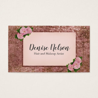 Trendy  Rose Gold Glitter Floral Business Card