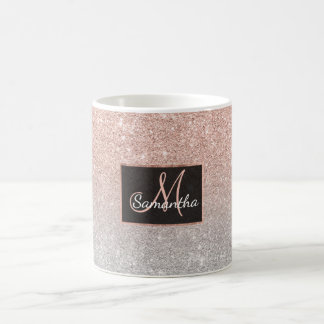 Trendy rose gold glitter ombre silver glitter coffee mug