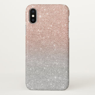 Trendy rose gold glitter ombre silver glitter iPhone x case