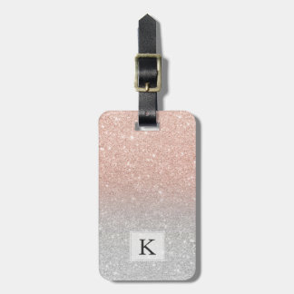 Trendy rose gold glitter ombre silver glitter luggage tag