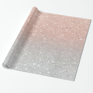 Trendy rose gold glitter ombre silver glitter wrapping paper