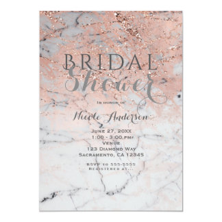 Trendy Rose Gold Pink Marble Modern Glam Party Card