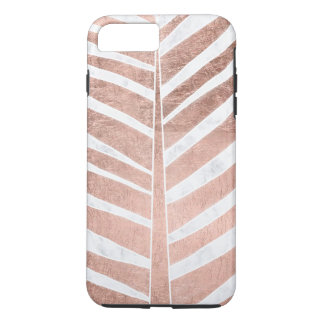 Trendy rose gold tropical palm tree white marble iPhone 8 plus/7 plus case