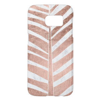 Trendy rose gold tropical palm tree white marble samsung galaxy s7 case