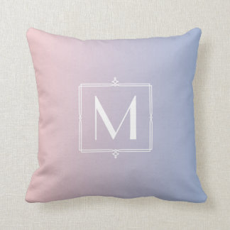 Trendy Rose Quartz Pink Serenity Blue Monogrammed Throw Pillow