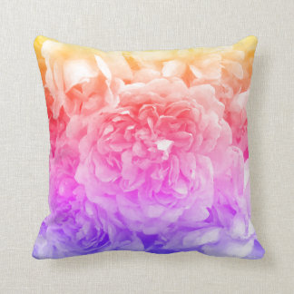 Trendy Roses, Yellow, Pink, Purple Throw Pillow