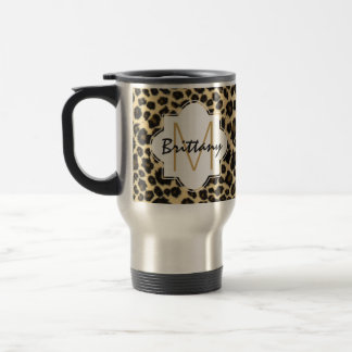 Trendy Safari Leopard Print Monogram Travel Mug