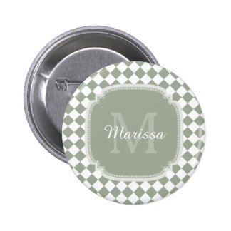 Trendy Sage Green Checked Monogrammed Name 2 Inch Round Button