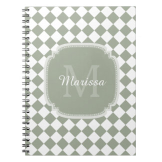 Trendy Sage Green Checked Monogrammed Name Note Book