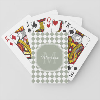 Trendy Sage Green Checked Monogrammed Name Playing Cards