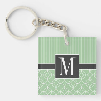 Trendy Sage Green Circles Acrylic Keychain