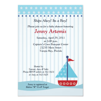 "Trendy Sailboat 5x7 Baby Shower Invitation 5"" X 7"" Invitation Card"