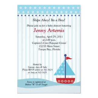 Trendy Sailboat 5x7 Baby Shower Invitation