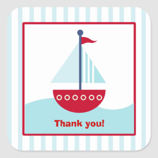 Trendy Sailboat Square Favor Stickers (6 Large)