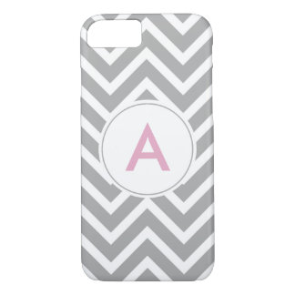 Trendy Scandinavian Grey Pink Chevron Monogram iPhone 8/7 Case