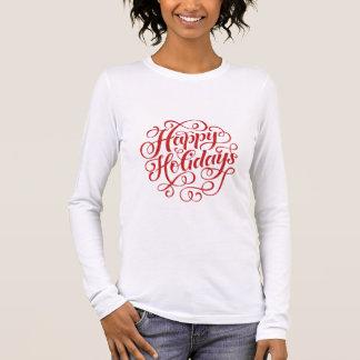 Trendy Script Red Glitter Happy Holidays Long Sleeve T-Shirt