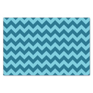 Trendy Shades of Blue Chevron Pattern Tissue Paper