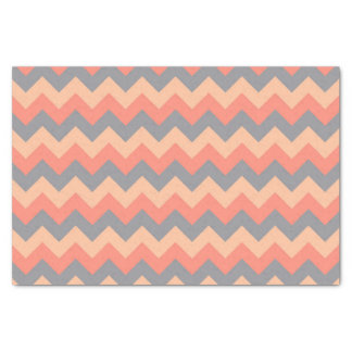 Trendy Shades of Peach and Grey Chevron Pattern Tissue Paper