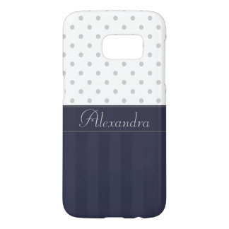 Trendy Silver Dots and Blue Stripes with Name Samsung Galaxy S7 Case